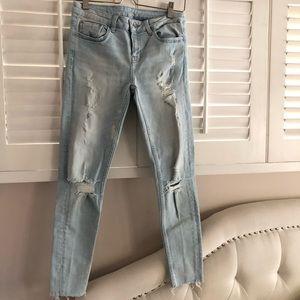 Zara Basic Z1975 Distressed Skinny Whitewash Jeans